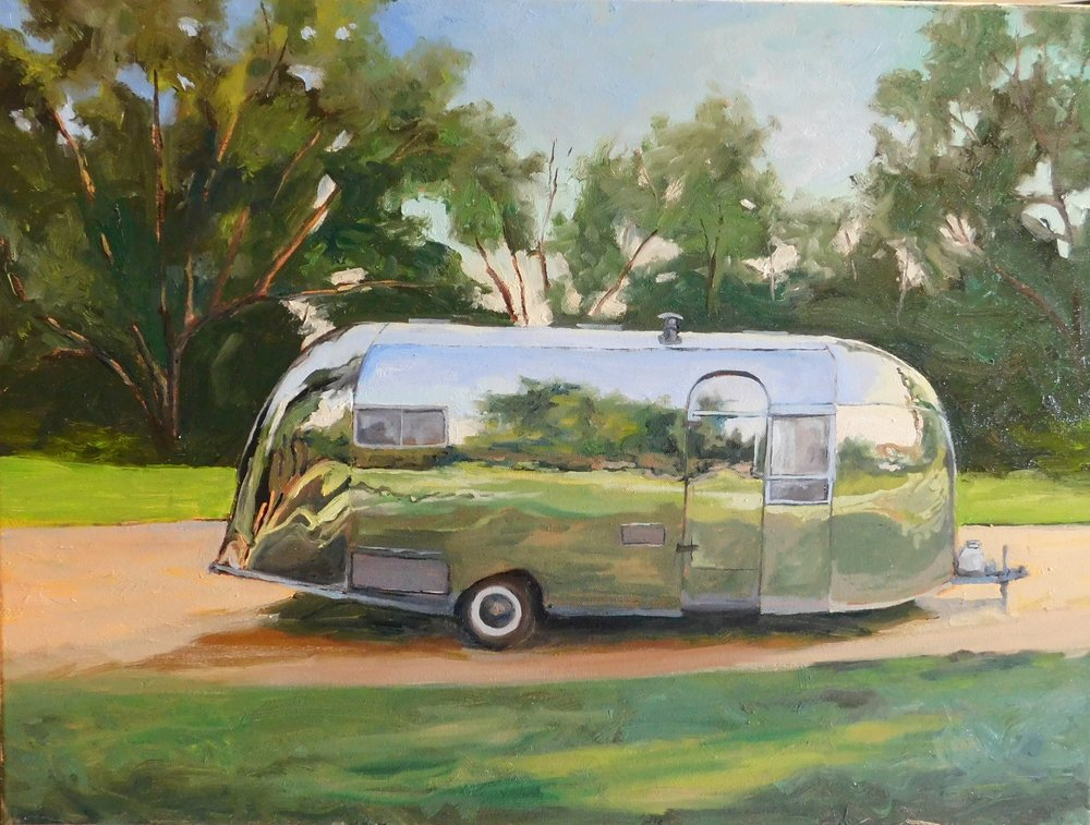 Airstream in park 18 x x24 in.oil on canvas $995.00