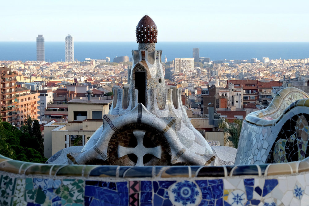 Gaudi's Park Güell is no longer free, though still swimming with tourists.