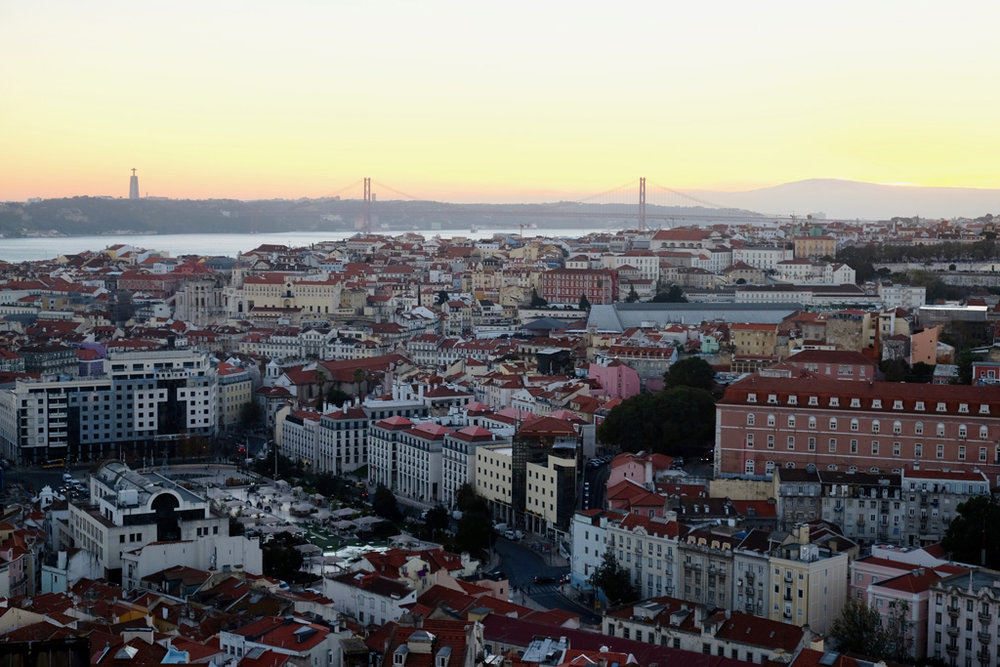 Looking over Lisbon towards the 25 de Abril Bridge.