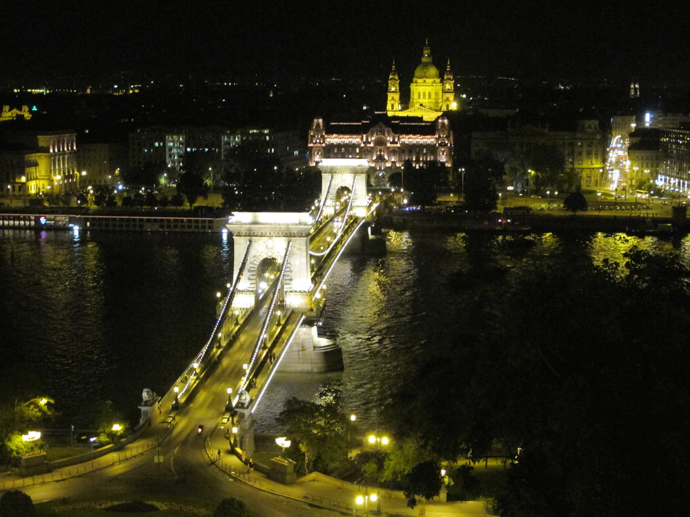 The Chain Bridge from Buda Castle seen at night.