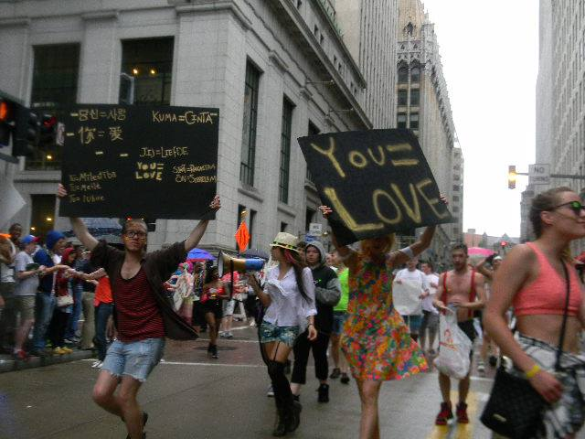 Our crew marching in the Pittsburgh Pride parade in 2013.