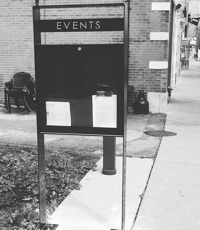 Managed to dodge the rain just long enough this morning to get our custom events board for @southgrandstl installed!  With everything going on in the neighborhood we know it'll see a ton of use #stlouis #southgrandstl #aeshdesignlab #fabrication