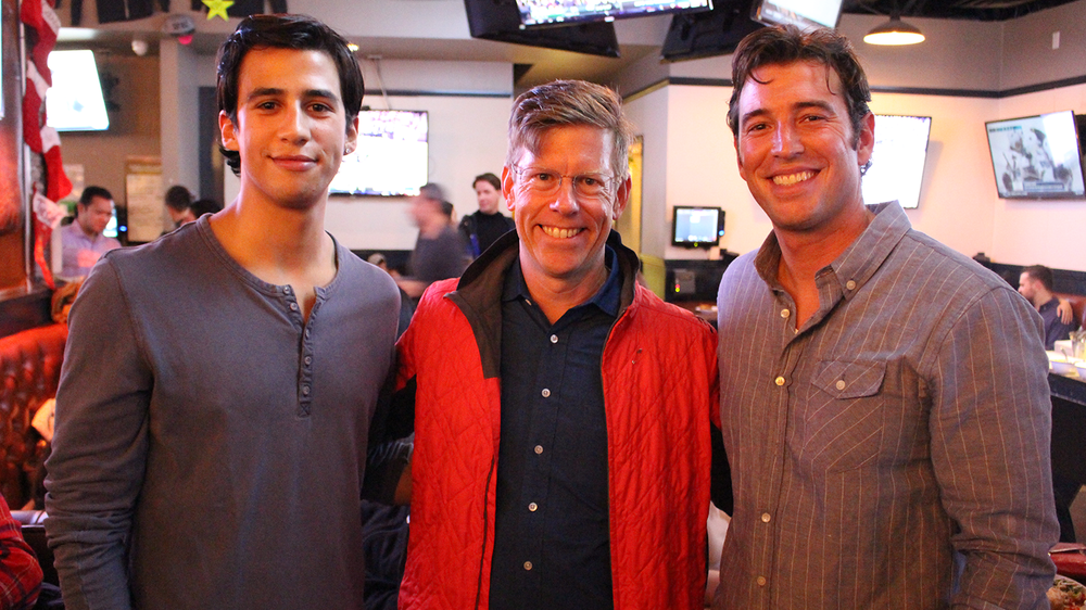 Andreas Freund (co-founder of DiveIn), Dylan Tweney(editor at large at Venturebeat), and Johnny Irwin (co-founder of the City Surf project)smile for a pic.
