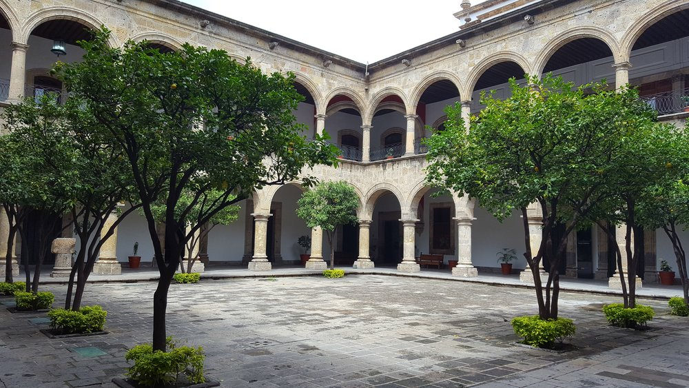 After you get off the bus in Guadalajara, stretch your legs at the Palacio de Gobierno