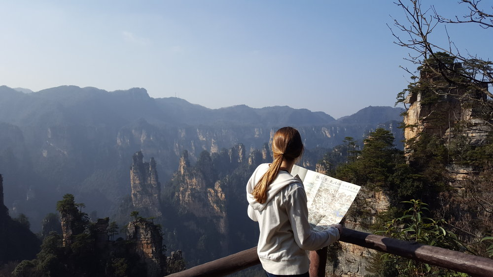 Planning our route among the peaks of Zhangjiajie National Forest Park