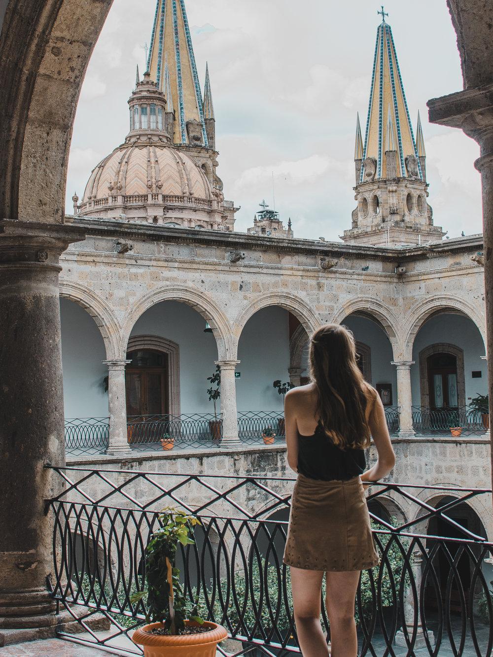 Beautiful arches of Palacio de Gobierno in Guadalajara