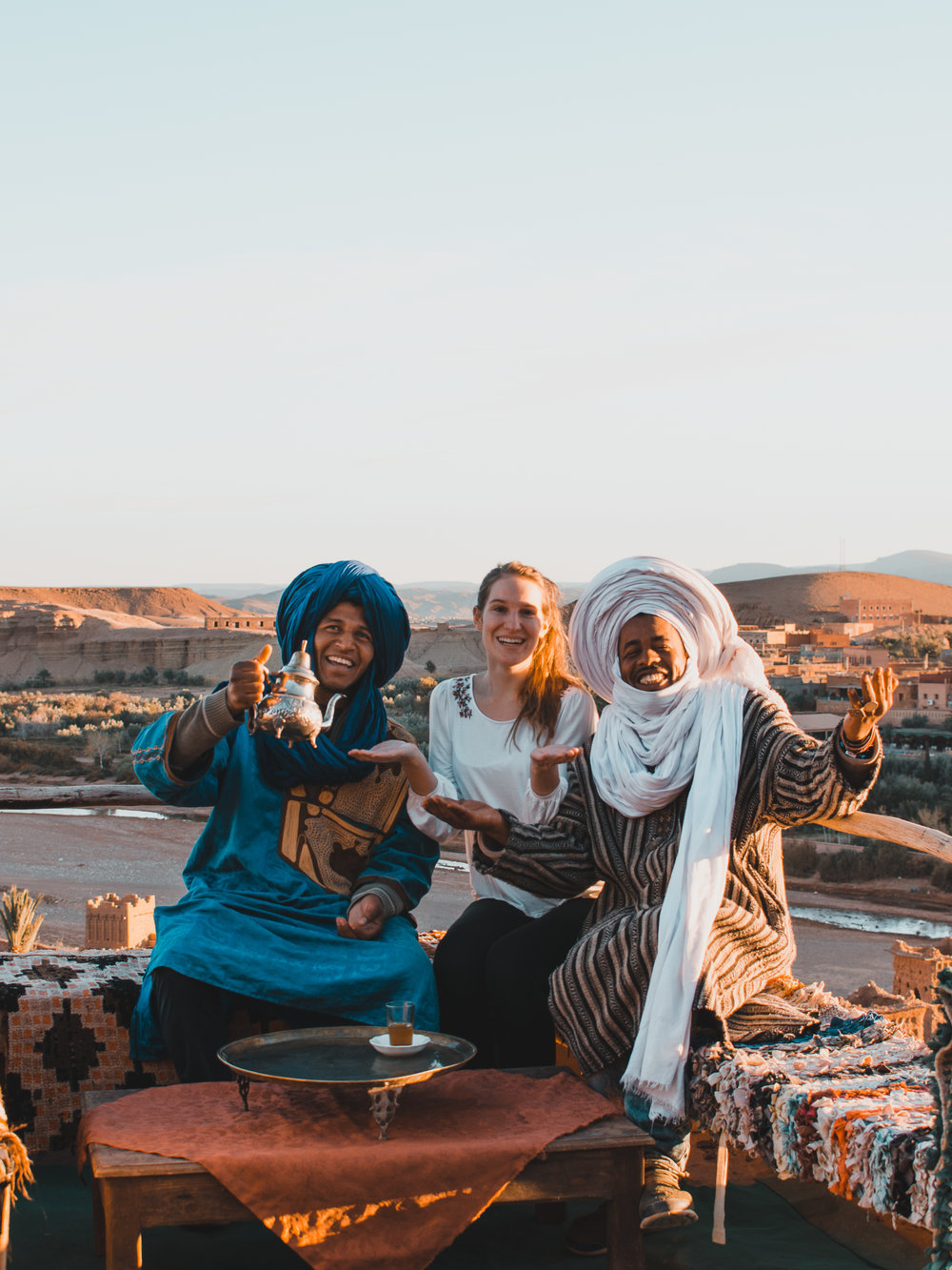 Drinking mint tea with Moroccan locals at Ait Benhaddou