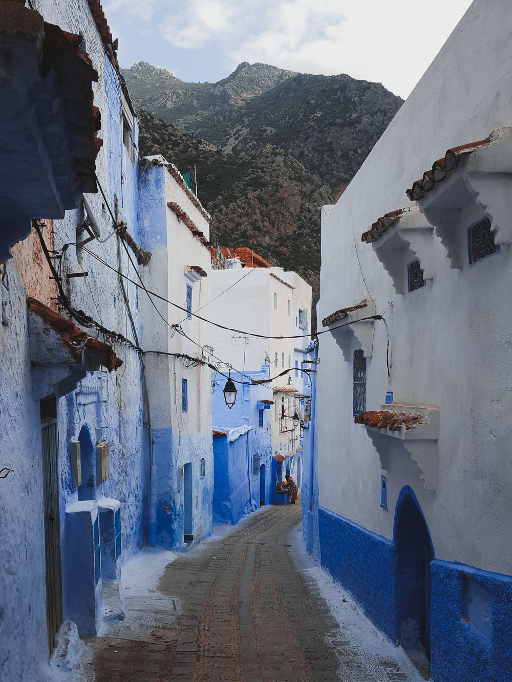 The alleyways in Chefchaouen are painted a brilliant, blue color