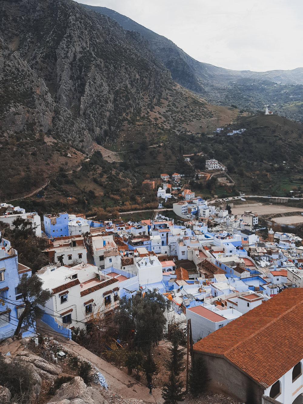 View from above in Chefchaouen, Morocco