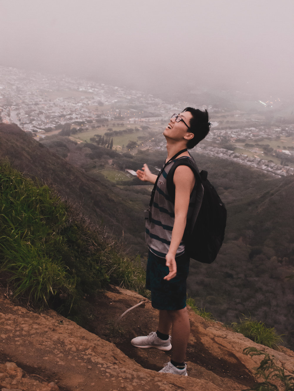 Yuting thrilled to have made it to the top of Koko Crater