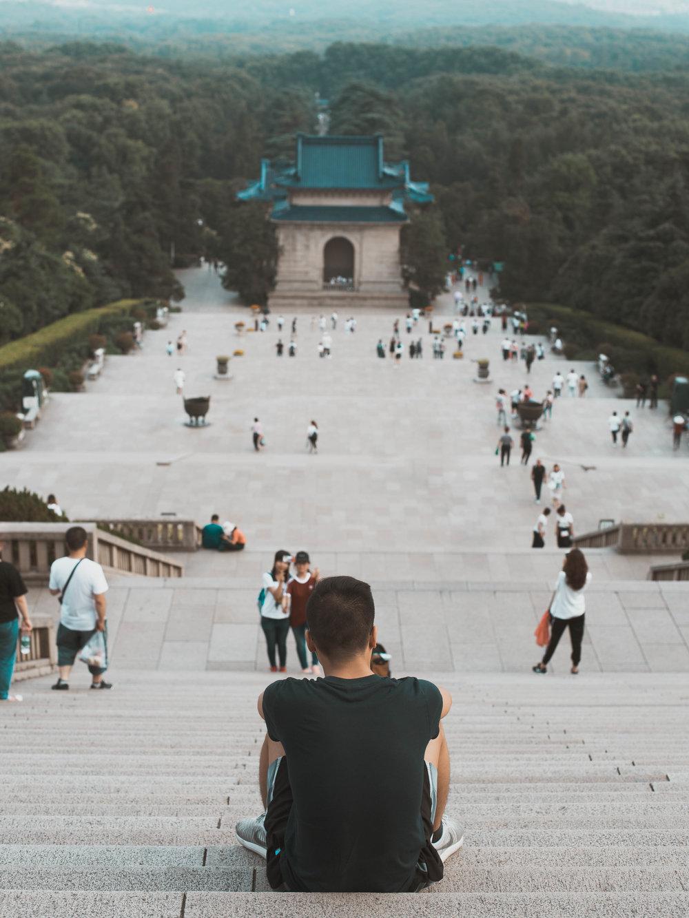 The top of the Dr. Sun Yat-sen Mausoleum in Nanjing