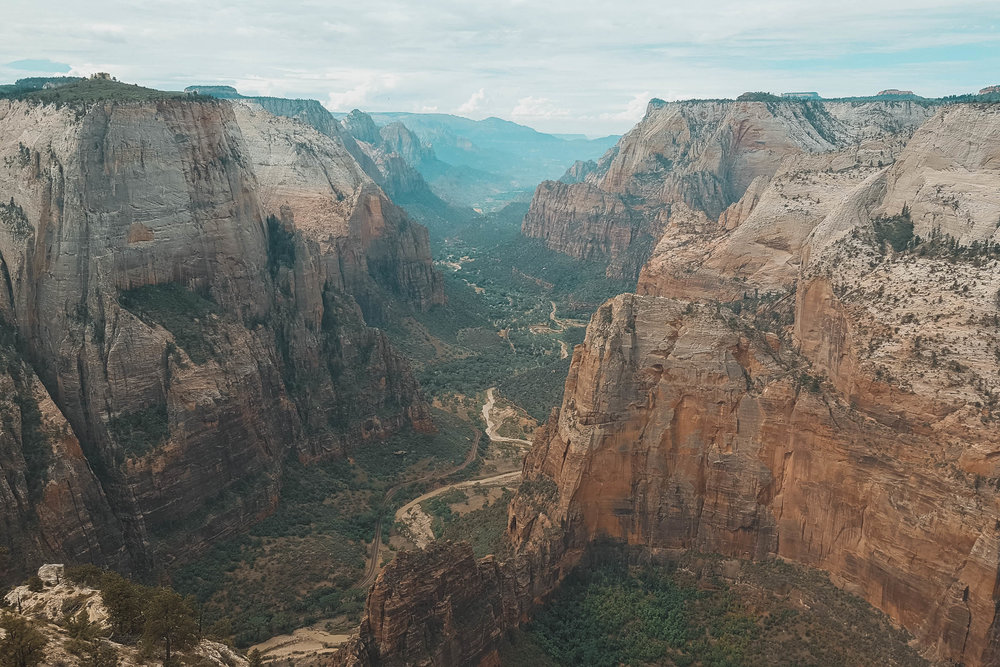 Angel's Landing is the narrow-looking ridge in the middle
