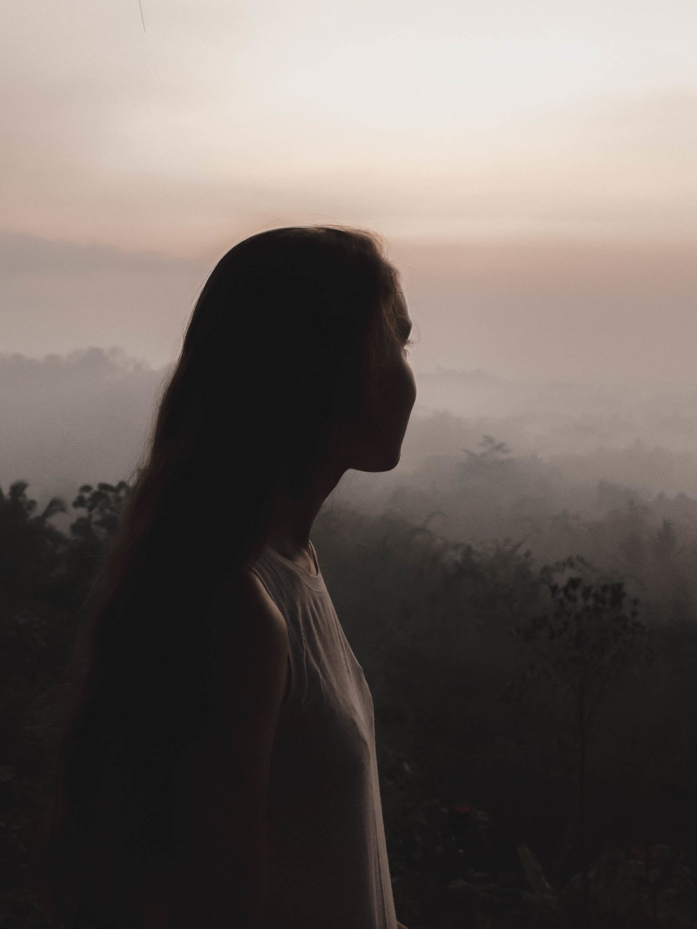 Watching the sunrise near Borobudur temple in Indonesia
