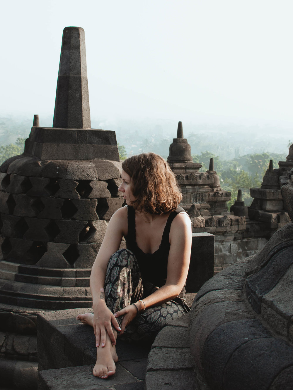 My friend Rahel at Borodudur temple in Indonesia