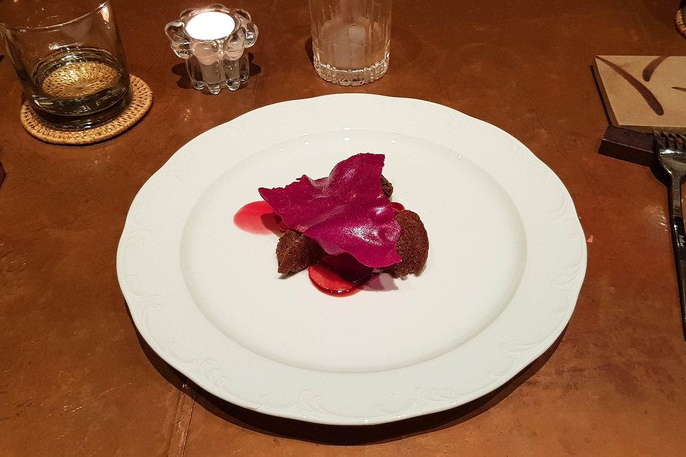 Red dish at Room 4 Dessert