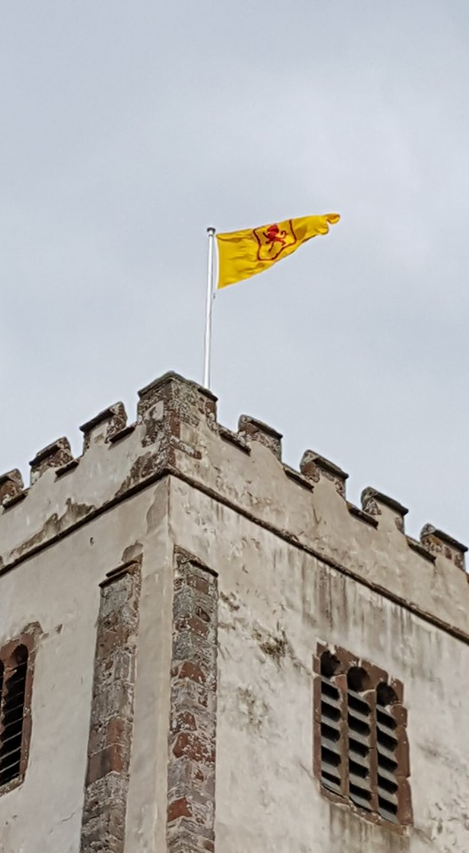 Flag at Berry Pomeroy Church