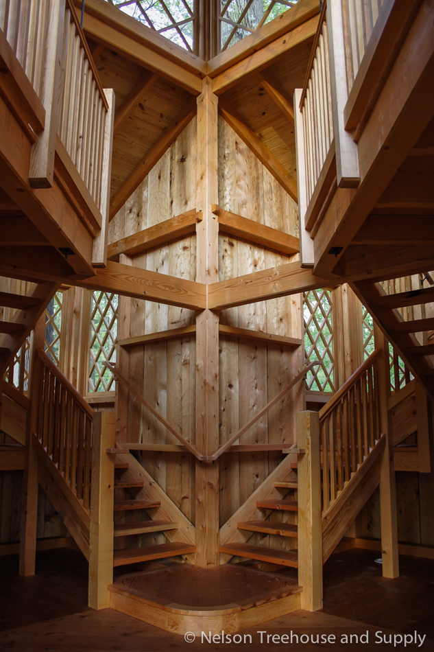 The interior of the Canopy Cathedral treehouse