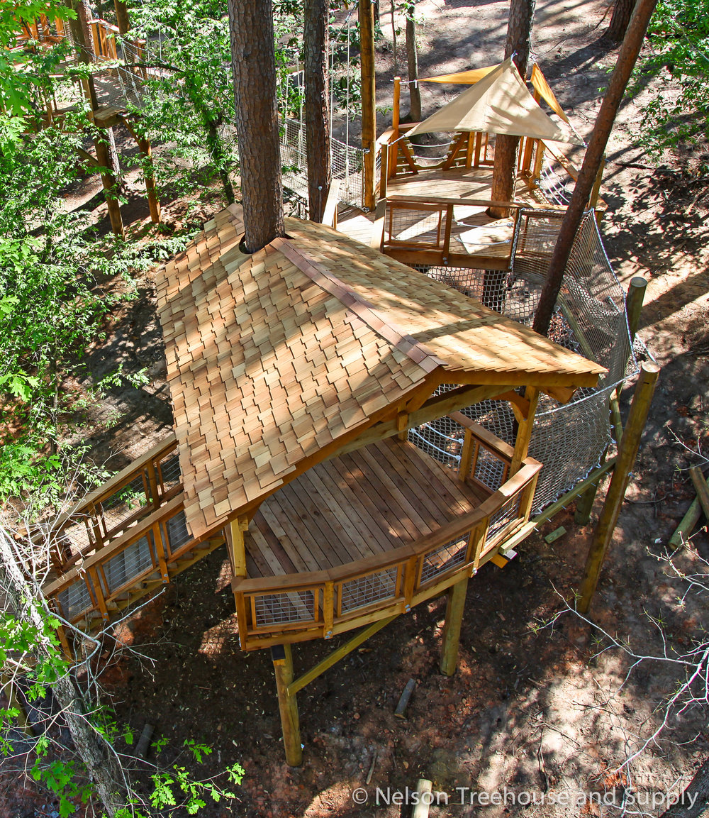 Daryl's Designs for the camp cho-Yeh treehouse included netting and multiple platforms.