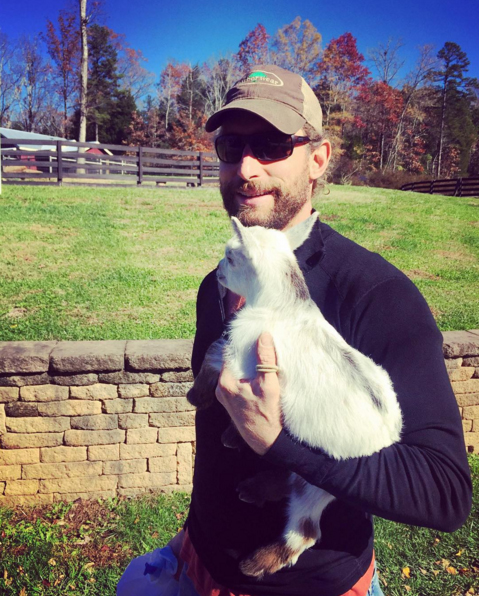 Alex makes friends on every build site, including Alex the goat (his namesake) in North Carolina.
