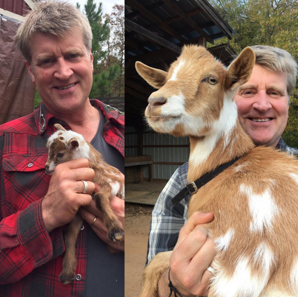 I was so happy to be reunited with Little Pete the goat one year after our treehouse build at storybook farm in North Carolina. I Can't believe how much he grew!