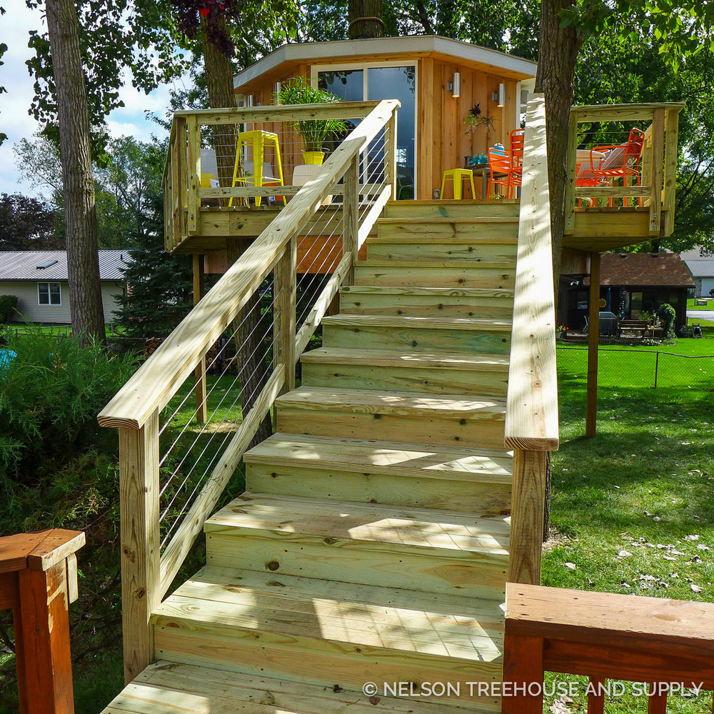 The new staircase ensures that family members of all ages can access the treehouse.