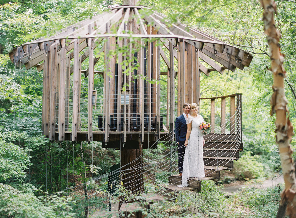 Emily and Patrick hosted their wedding at the Cleveland Botanical Gardens, which is home to several treehouses! You can see more photos and get  details about their wedding here.