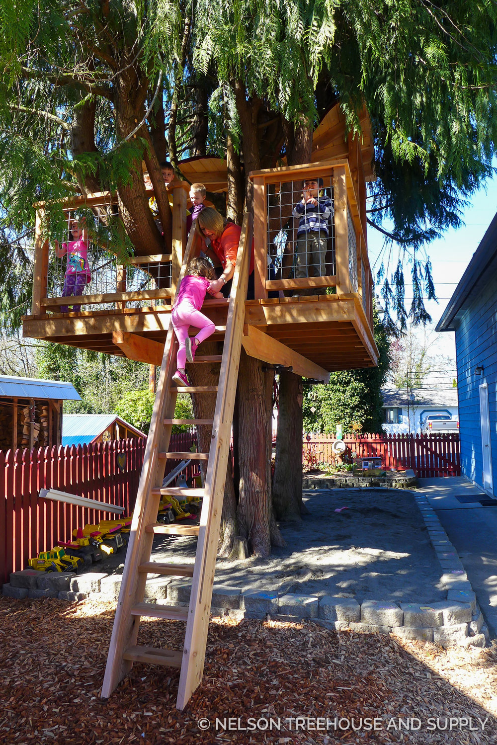 Toby helped build this treehouse for The montessori school that his kids attend. He hopes to build one at home for his own kids soon!