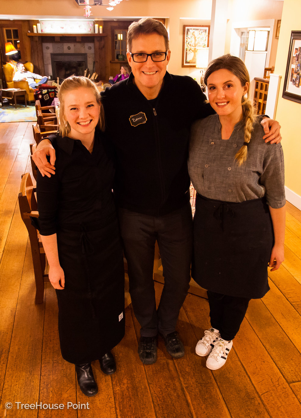 Pictured Left to right: Sophia Fischer (founder of Transplant Traveler), Damon Bishop (manager of Treehouse Point), and chef ryan ross.