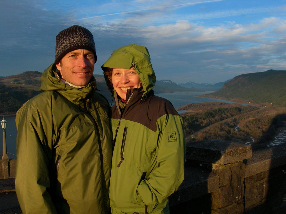 Toby met his wife, Jennifer, at the Issaquah Village theater. The couple enjoys traveling and being outdoors; this photo was taken at the columbia River gorge.