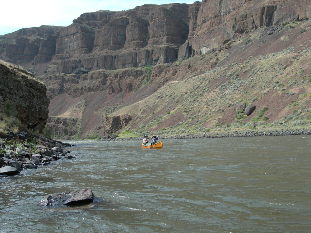 Toby and Jennifer love canoe trips like this one in the John Day River, Oregon. Toby has completed 70-mile-long canoe trips, and hope to take his kids on similar excursions in the future.