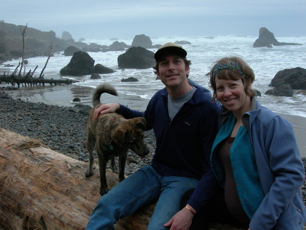 Toby, Jennifer, and neko (their trusty dog) on a trip to the Oregon coast. Jennifer was pregnant here with arrow, the couple's first child.
