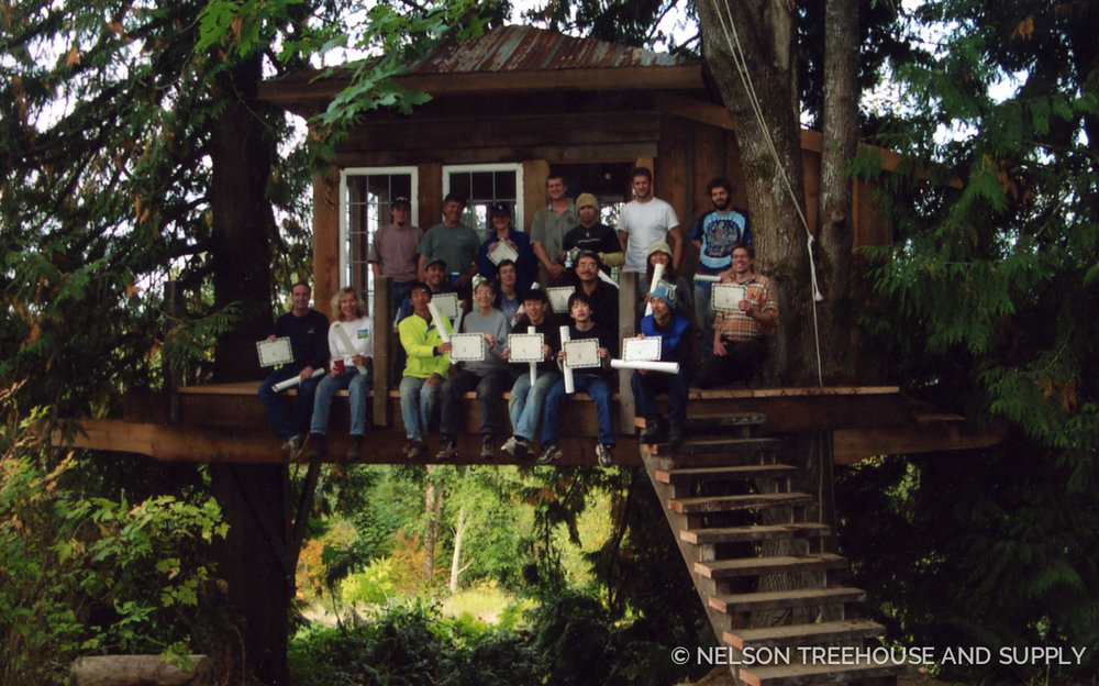 Pete first built Lolly's treehouse in 2002 at a treehouse workshop. Treehouse friends from around the world united to learn tricks of the treehouse trade in this hands-on workshop!