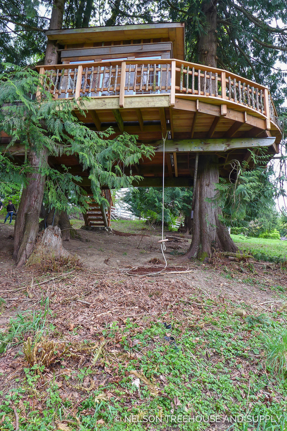 Henry added this swing beneath the platform. He and his brother, Charlie, used to play with Lolly and Peter's son, Brian, on a swing while Pete built this treehouse back in 2002.