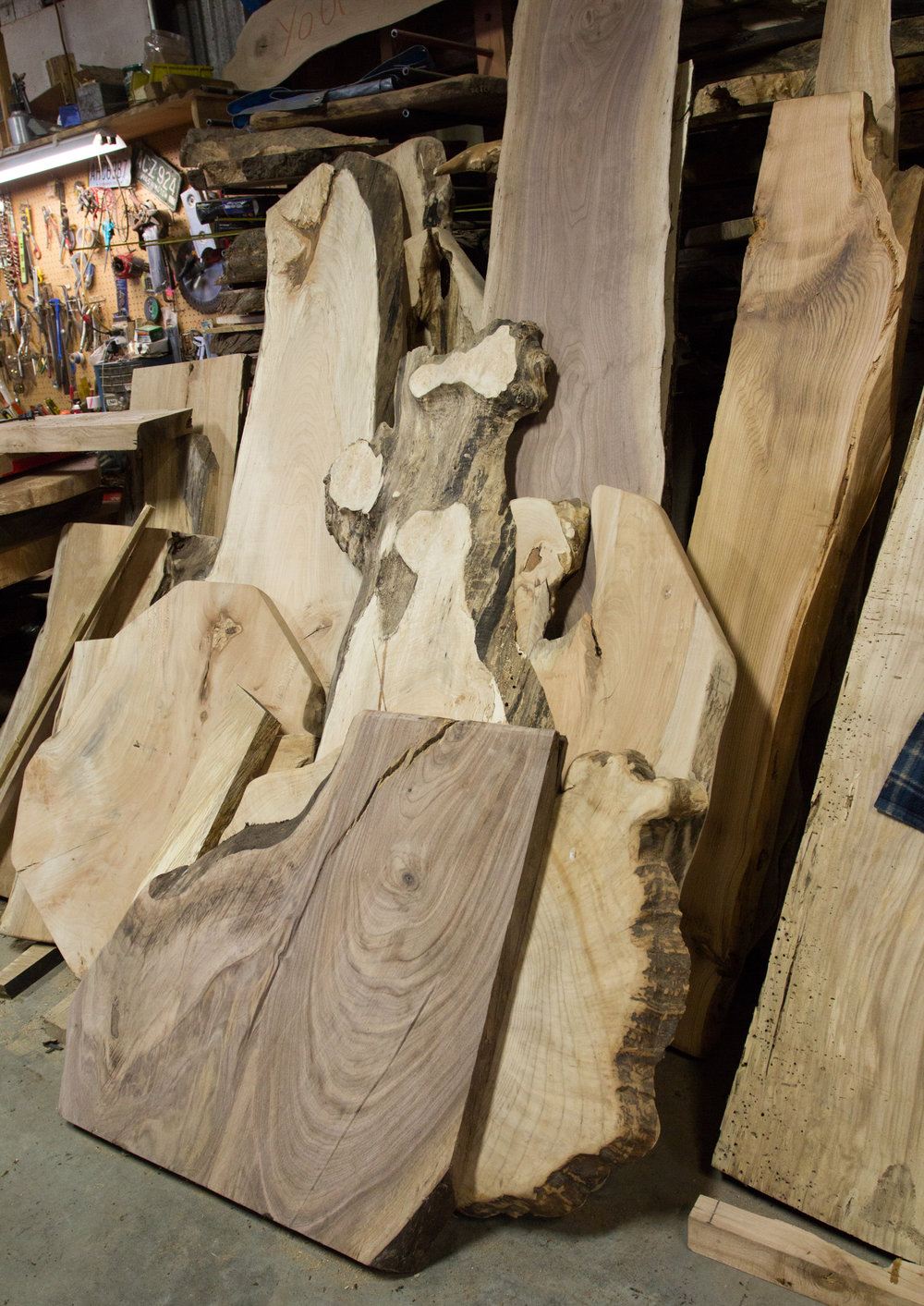 "Bruce has slabs from diverse species of trees, including cedar, walnut, and even ""monkey wood"" (more commonly known as Chilean Pine)."
