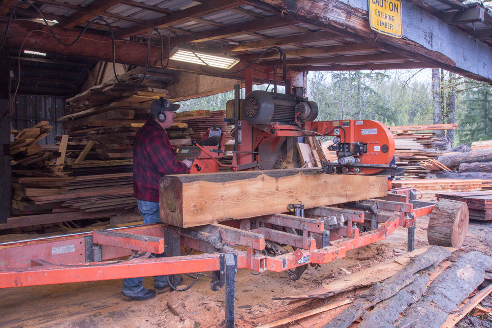 Cutting on the saw.