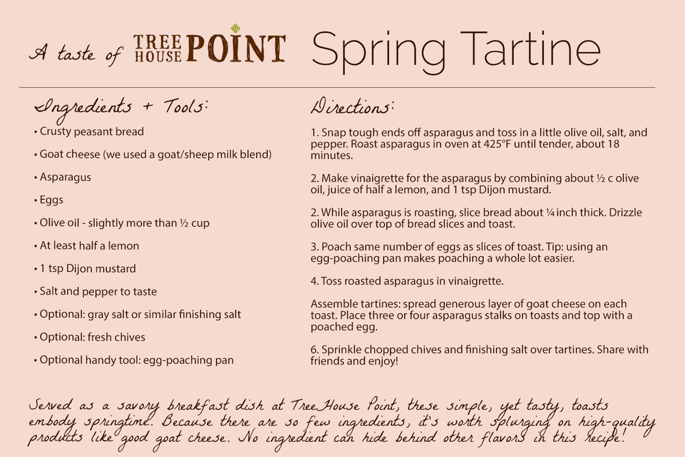 TreeHouse Point Spring Tartine