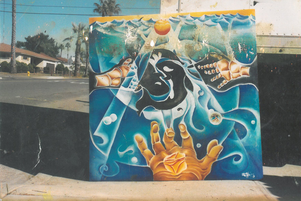 Rolf painted this vibrant piece in San Diego, California. On the left and right sides of the painting are whale fins - Rolf was intrigued that the bones inside whale fins look like human hands. Hands are a recurring motif in Rolf's artwork.
