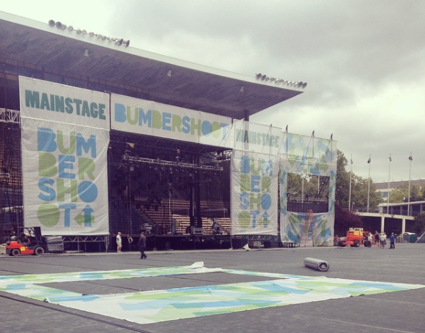 Setting up Bumbershoot in 2014. Photo courtesy of Charlie Spitzack.