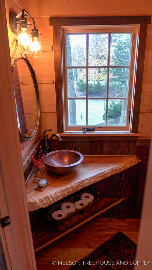 The Composting Toilet Inside Bathroom On Main Floor Neatly Stores Its Section In A Separate Unit Outside Treehouse