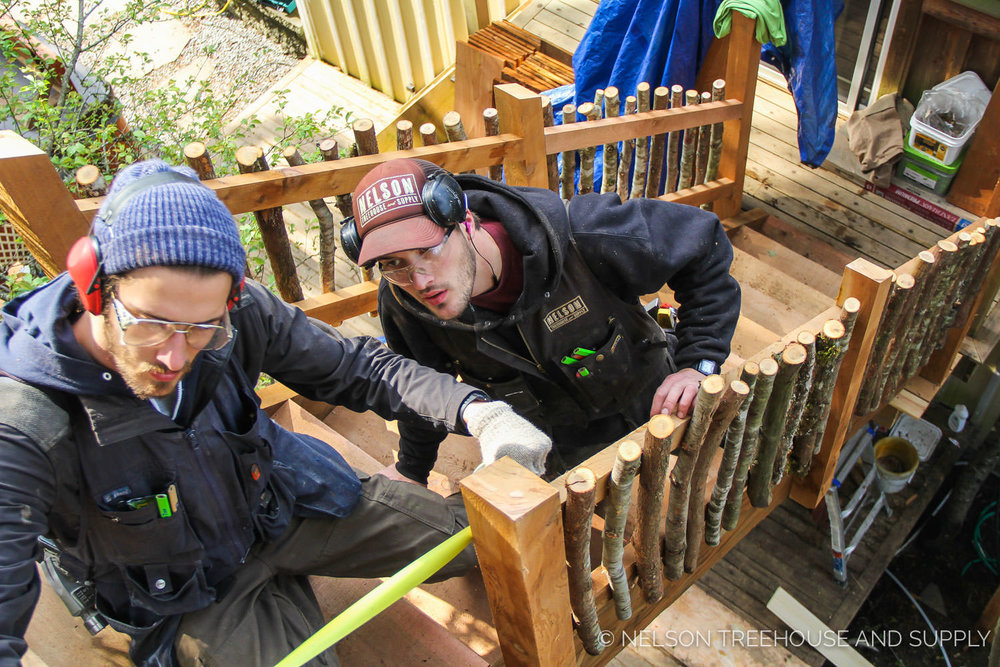 Charlie (Left) and Henry (right) collaborating on a staircase for the   High Noon Saloon Treehouse