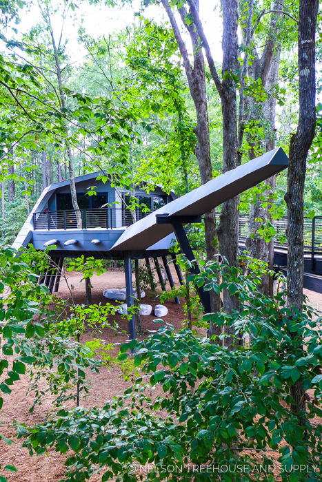SPACE CRAB TREEHOUSE    Location:  Zac Brown's Camp Southern Ground, Georgia  Year Built:  2016  Square Feet:  744  Elevation:  16 ft  Main structure:  Fully steel-supported  ADA-compliant bridge:  Combination tree- and steel-supported  Seasonality:  All-season    CLICK FOR PHOTO TOUR >>