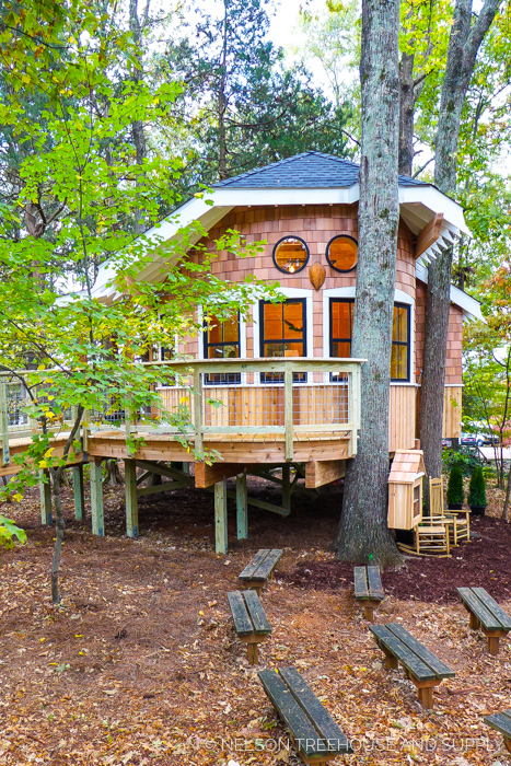 OWL'S NEST LIBRARY TREEHOUSE    Location:  Omni Montessori School, North Carolina  Y  ear Built:  2016  Square Feet:  416  Elevation:  7 ft Combination tree- and wood post-supported ADA-compliant ramp  Seasonality:  All-season    CLICK FOR PHOTO TOUR >>
