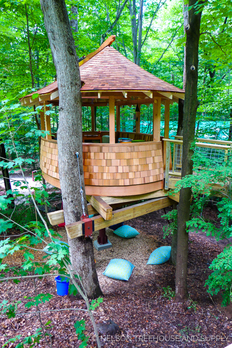 SUNRISE DAY CAMP CLUBHOUSE    Location:  Sunrise Day Camp, New York  Year Built:  2015  Square Feet:  252  Elevation:  13 ft ADA-compliant ramp Combination tree- and steel-supported  Seasonality:  Three-season    CLICK FOR PHOTO TOUR >>