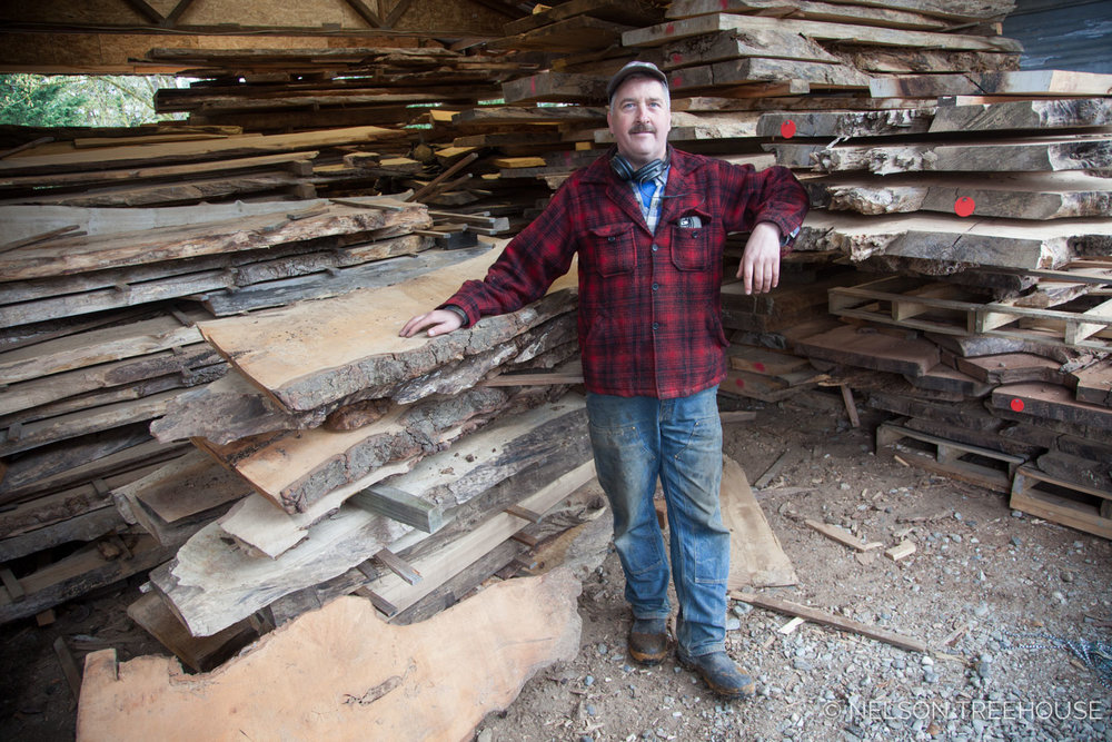 The source of mAny of our Wood slabs for treehouse built-ins is   Bruce Blacker's mill in Oso, Washington .  Bruce specializes in large reclaimed timber. Bruce's mill is like museum of wood that tells a patchwork history of the Pacific Northwest.