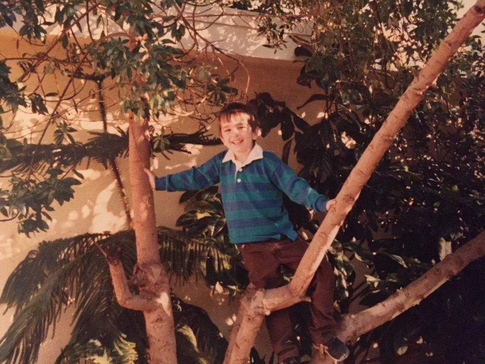 Young Daniel exhibiting arboreal inclinations. PHoto Courtesy of Daniel Ash.