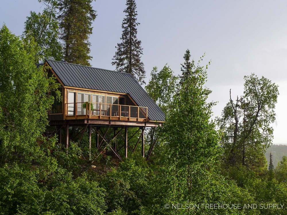 The completed treehouse in denali state park.