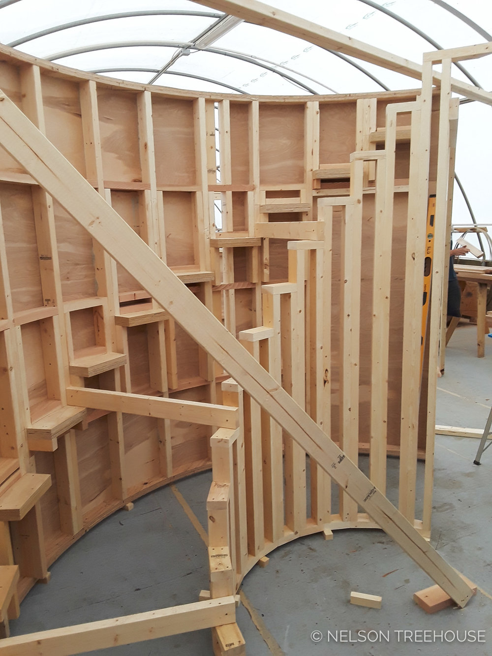 Spiral Staircase mocked up inside the prefab shop