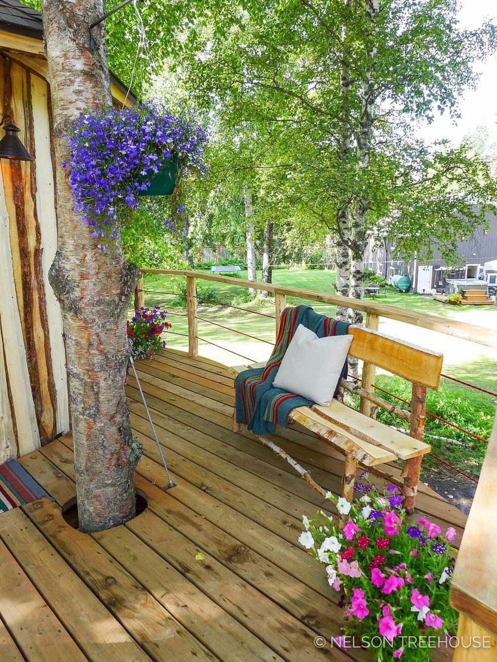 Alaskan Sauna Hut deck views - Nelson Treehouse