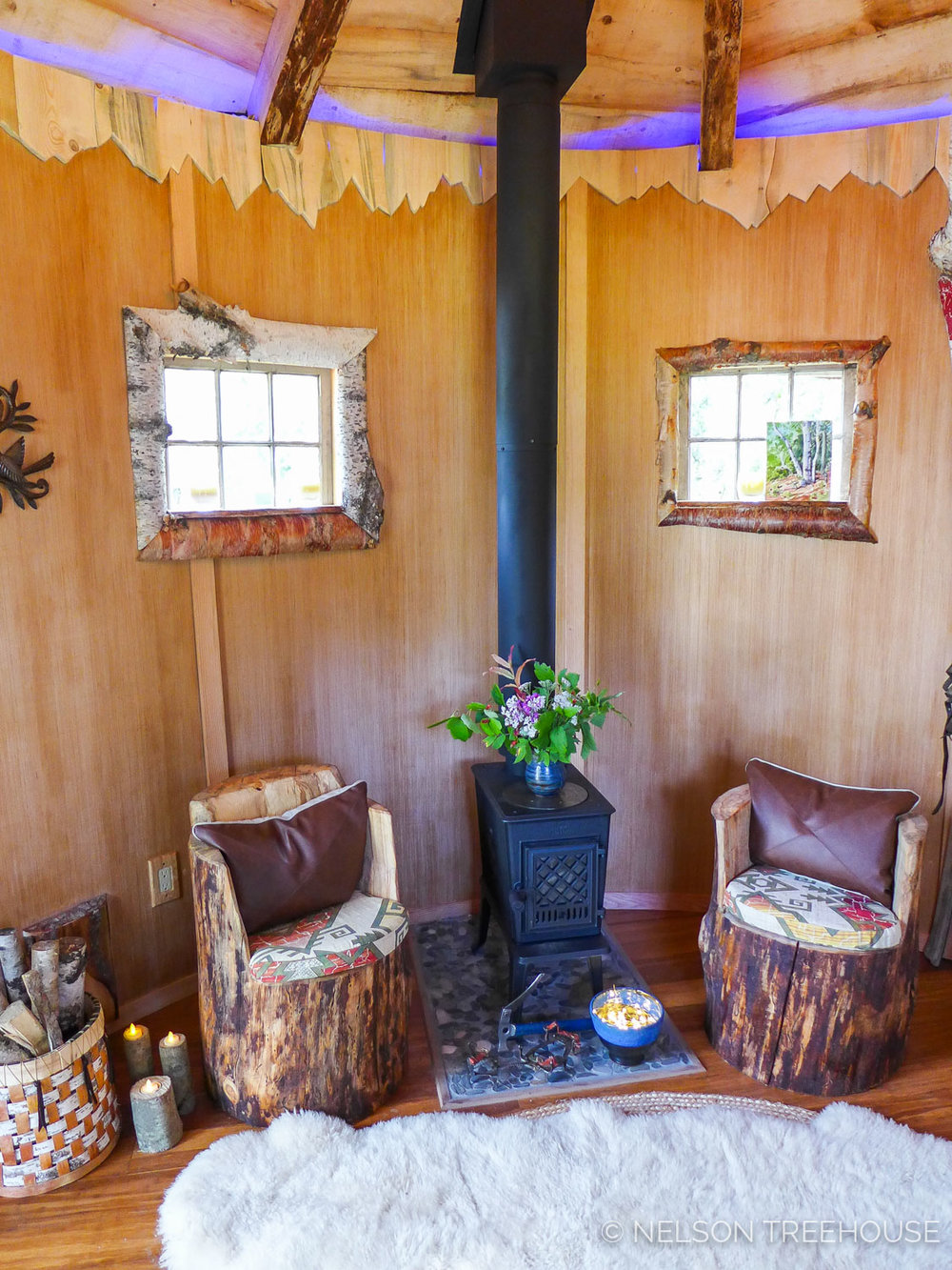 Alaskan Sauna Hut wood stove - Nelson Treehouse