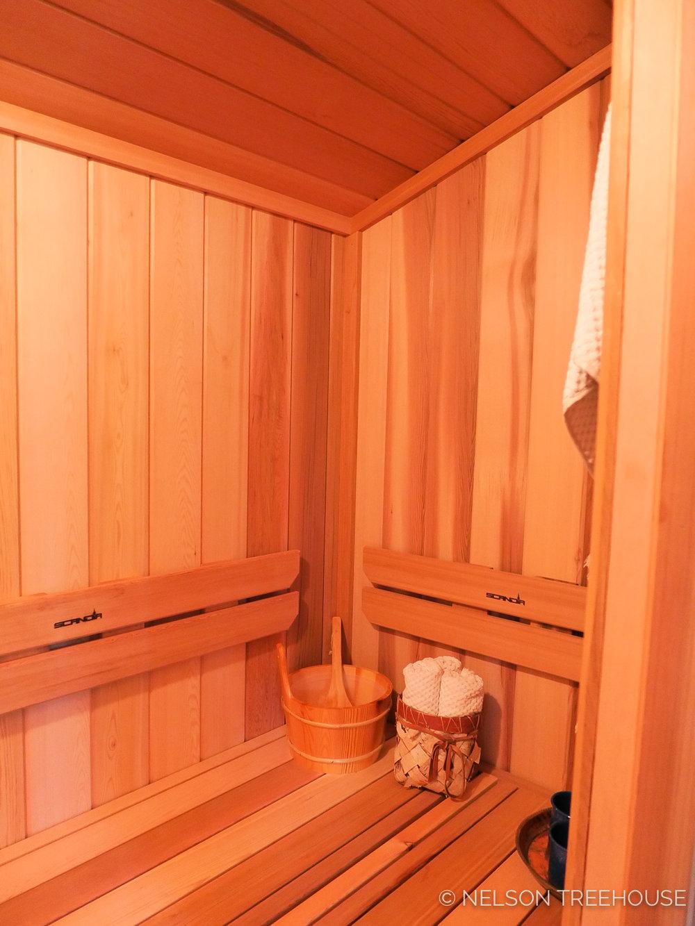 Alaskan Sauna Hut -Sauna Room view 2 - Nelson Treehouse